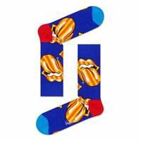 Happy Socks Rolling Stones Large Tongue Logo Men's Socks, Blue Medium/Large