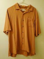 Tommy Bahama L Button Down Hawaiian Shirt Silk Mens Orange