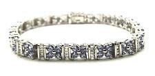 Sterling Silver Light Purple Amethyst Flower Diamond Baguette Tennis Bracelet 7