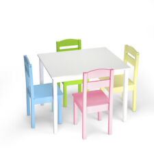 5 Piece Kids Table Chair Set Children Toddler Wooden Playroom Furniture Colorful