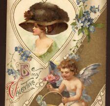 WINSCH VALENTINE FASHION LADY,FEATHERED HAT,,CUPID GATHERS ROSES,CHROMO POSTCARD