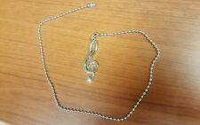 Ceiling Fan / Light Beaded Pull Chain Cord Musical Note Treble Clef Brush Nickel