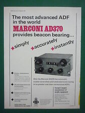 9/1968 PUB MARCONI  AIRADIO SYSTEMS AD370 CRYSTAL CONTROLLED TUNING AD