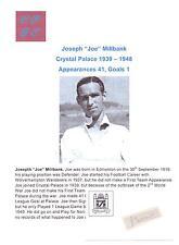 JOE MILLBANK CRYSTAL PALACE 1939-1948 RARE ORIGINAL HAND SIGNED CUTTING/CARD