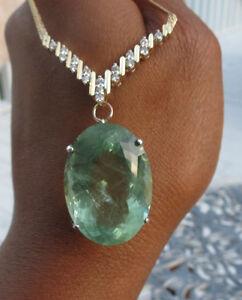 Estate Huge blue green 45 carat Aquamarine & Diamond 14k gold pendant necklace