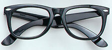 Black Frame Glasses Specs Geek Nerd Retro 60s Austin Powers Fancy dress