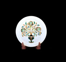 """7"""" Round Marble Plate Abalone Stone Beautiful Inlaid Newyear Eve Decors H5437"""