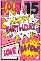 girls 15th happy birthday card 15 today - multi listing