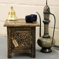 Kumara Small Square Side Table Moroccan Style Carving Storage Compartment Home