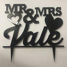 "Personalised modern engraved Mr & Mrs 6"" 150mm wedding cake topper keepsake gift"