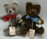 Lot of 2 jointed vintage Grisly Mohair Bears 400/15 w/ tags made in W. Germany