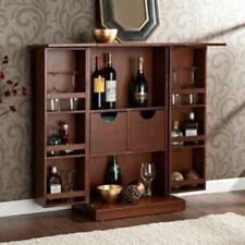 walnut finish folding home bar cabinet liquor wine rack storage mini compact pub