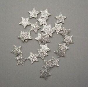 25 Silver Glitter Felt Christmas Star Shapes