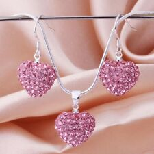 925 Sterling Silver SF Heart Pink Crystals Solid Necklace/Earrings Set SA477