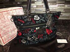 Coach Poppy Pop C Graffiti Hearts Glam Zip Tote Bag Purse black Red Multi #16052
