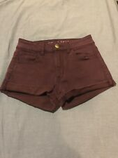 American Eagle Shorts High Rise Shortie Maroon Cut off Size 0