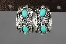 antiqued Silver tone turquoise bead half hoop huggie stud post dangle earrings
