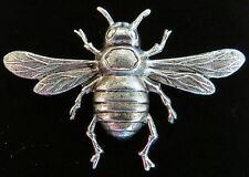Bee Pin Brooch Oxidized Matte Silver Bumble Bee Honey Bees Queen Drone