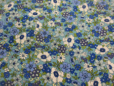 """Turquoise """"Tokyo Blossom"""" Flowers,Floral Printed 100% Cotton Poplin Fabric."""