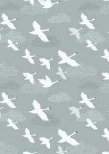 By 1/2 Yard ~ Down by the River Swans in Flight Grey/Blue ~Lewis & Irene Fabric