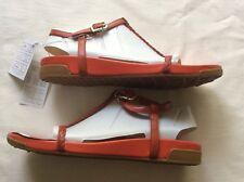 BNIB ROCKPORT Orange Plaited Low Wedge Leather Sandals.Size:7.