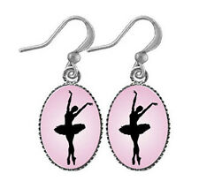 New LAVISHY Drop Earrings BALLERINA Rhodium Jewelry PENDANT Ballet Dancer PINK