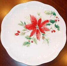 "Lenox WINTER MEADOWS, 4 Piece Poinsettia 9"" Accent Luncheon Plates 1st Quality"
