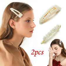 2Pcs Fashion Women Girl Pearl Hair Clip Hairband Comb Bobby Pin Barrette Hairpin