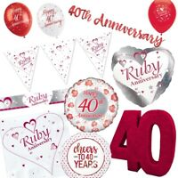 40th Ruby Wedding Anniversary Party Supplies Tableware, Decorations & Balloons