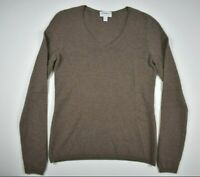 Charter Club Womens Small Brown 2 ply 100% Cashmere Long Sleeve V Neck Sweater