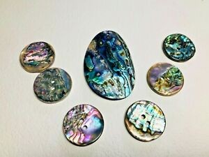 Gorgeous Iridescent Paua Buttons & Pendant or Zipper Pull, Great for Necklace