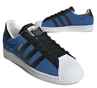 New adidas Originals Superstar Suede Mens athletic sneaker blue black all sizes