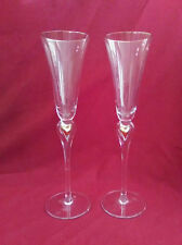 """Set of  2 Pristine 11 1/2"""" Champagne Flutes with Gold Accents"""
