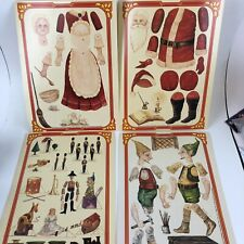 Paper Dolls Christmas Mr. & Mrs. Claus dolls Elf's Merrimack Publishing