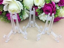 3 x Clear Plate Plastic Stand Holder Display Easel Picture Frame Photo Bowl SML