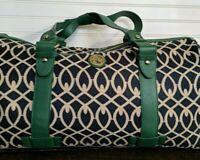 Spartina 449 Navy Green Pender Barrel Duffel Bag Linen Leather Preppy! NWOT