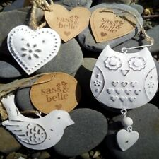Vintage mini retro white tin Sass and belle ~ Choose from owl / bird or heart ~