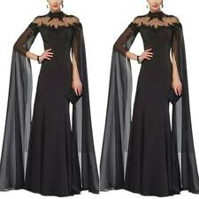 Womens Lace Cape Long Sleeve Maxi Dress Evening Party Ball Gown Cocktail Dresses