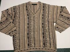 Tundra Knit Cosby Vtg Sweater Mercerized Cotton Geometric 90s Brown Black