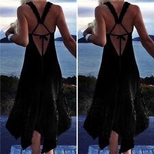 Women's Backless Sleeveless Summer Casual Beach Sexy Party Irregular Maxi Dress