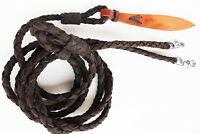 Horse Western Leather Hand Braided Rommel Romal Reins Popper With Snaps 6659