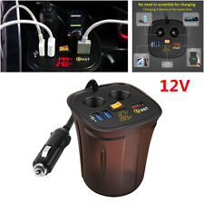 12V Car Cigarette Lighter LED Voltmeter Display Temperature USB Socket Charger