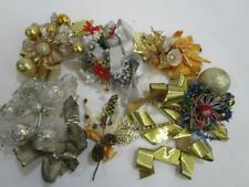 Vintage Christmas Foil Leaf Brush Mercury Glass Bead Corsage Decoration Lot 6