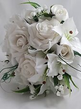 White Lily and Rose Silk Bouquet