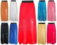 Chiffon Patternless Maxi Skirts for Women