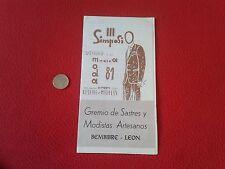 ANTIGUO FOLLETO III SIMPOSIO SASTRERÍA MODA 1981 GREMIO DE SASTRES BEMBIBRE LEON