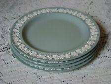 "4  8"" Salad Plates Wedgwood Embossed Queensware Cream on Celadon Plain Edge"