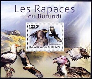 Long-crested Eagle, Birds of Prey, Raptors, Burundi 2011 MNH Sheet