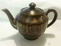 Brown teapot made in Japan hand painted vintage retro