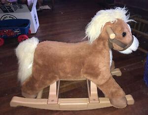 Rock'n Ride Rider Palomino Pony Plush Ride-On Toy Lt. Brown